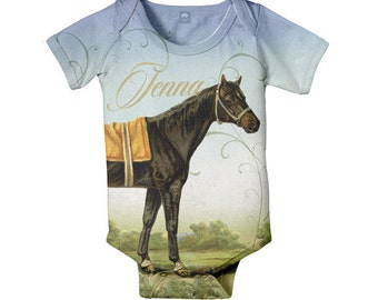 Horse Baby Bodysuit, Personalized Girls Equestrian One-Piece