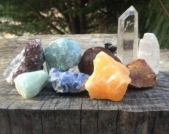 Chakra crystal set, crystal kit, crystal grid