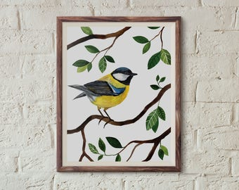 Sikorka bogatka, Titbird (Parus major) - illustration - print