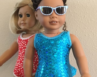 "Retro Swim Suit for 18"" Doll - Blue"