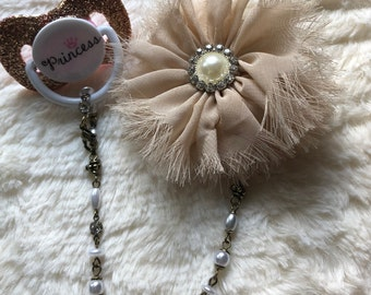 Bling baby pacifier clip antique