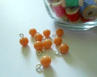 Tan Opaque Round Glass Dangle Beads
