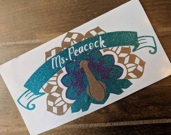 Peacock, Personalized glossy Vinyl Decal,