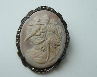 Silver framed victorian cameo brooch