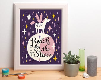 Reach for the Stars - illustrated unicorn poster - 30x40 cm / 12x16 inch - design by Heleen van den Thillart