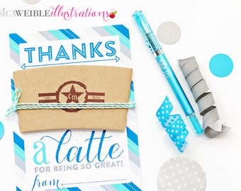 Blue Teal Thanks a LATTE Printable Thank You Card, Thank You Note for Coffee Gift Cards - Latte Thank You Printable - Thank You a Latte Card
