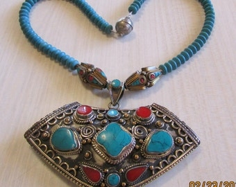 Large Faux Turquoise and Coral Necklace