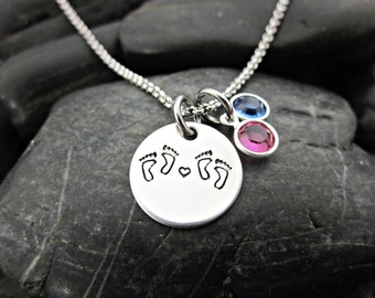 Twins Necklace - Baby Feet - Birthstones - Heart - My Twins - Twin Jewelry - Mommy of Twins