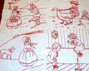 Vintage 1920s REDWORK VOGUE Nursery quilt blocks transfer pattern