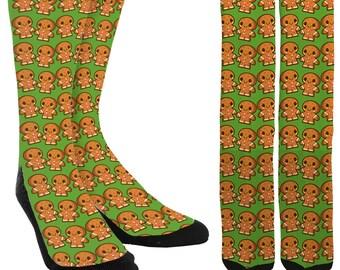 Gingerbread Men Crew Socks - Holiday Socks - Cookie Socks - Christmas Socks -Unique Socks - Novelty Socks - Cool Socks - FREE Shipping D59