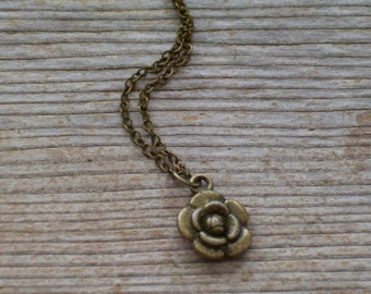 Floral Necklace, Antiqued Brass Flower Pendant Necklace, Brass Plated Chain
