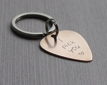 I pick you keychain - hand stamped guitar pick - copper/bronze/aluminum - 7th anniversary - 8th anniversary - 10th anniversary