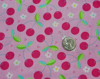 Tutti Frutti Cherry on Pink - Fabric By The Yard - H