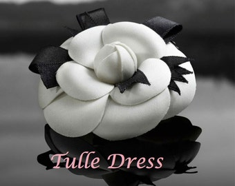Chanel Iconic Camellia Flower Black and White Image and Custom Stationary and Chic Party Invitations