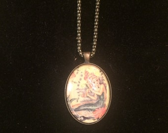 Retro 1950s Redhead Mermaid Large Oval Pendant Necklace