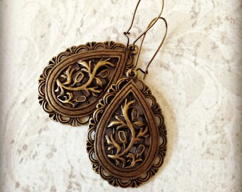 Bronze Filigree Drop Earrings Vintage Style Boho Gypsy Renn Faire Tichel Accessory