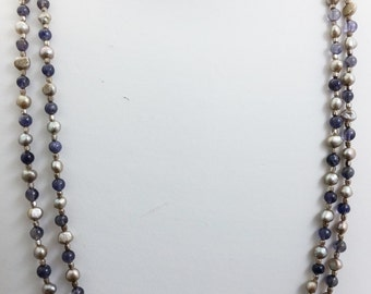 Elegant Long Double Strand Freshwater Pearl, Iolite & Sterling Silver Beaded Necklace Handcrafted