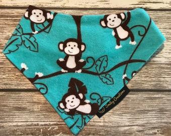 Infant-Toddler Blue Hanging Monkeys Bandanna Bib (super absorbent!)