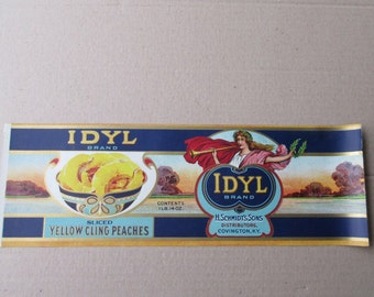 1920s Vintage Paper Food Can Label Idyl Peaches Label #25