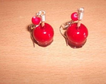 Apples red love in polymer clay with a red bead earrings