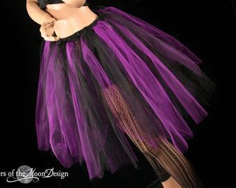 Streamer adult tutu skirt Purple black gothic goth vampire dance costume roller derby rave  --You Choose Size -- Sisters of the Moon