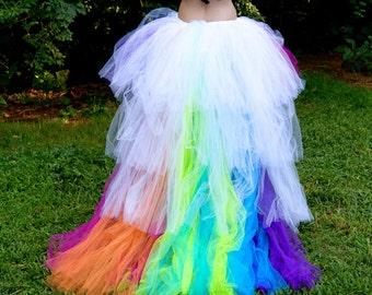 Wedding LGBTQ  pride Rainbow Train  Bride Brides Bustle Tulle Formal Skirt All Sizes MTCoffinz love is love