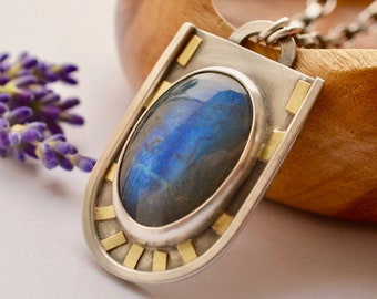 Labradorite Necklace in Silver and Gold, Modern Style, Oxidized Silver, Handmade Pendant, One of a Kind Metalwork, Artisan Jewelry