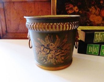 French Vintage Tole Planter, Greeen Cache Pot Toleware, Hollywood Regency, Neoclassical, French Chic Pot