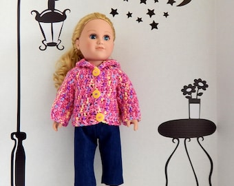 18 Inch Doll Jeans, Top with Hello Kitty Applique, Crochet Sweater, White Socks and Yellow Canvas Sneakers