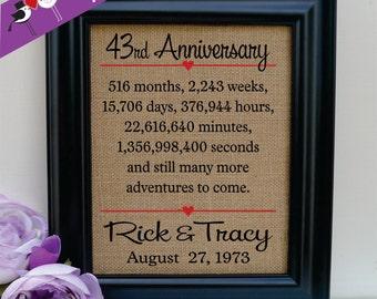 43rd anniversary, 43rd wedding anniversary gift, 43rd anniversary gift for him, 43rd anniversary gift for her, 43rd anniversary (ann302-43)