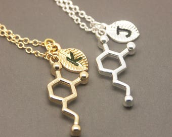 Dopamine Necklace, Personalized Initial Necklace, Chemistry Necklace, Science Necklace, Science Jewelry, molecule necklace SC009