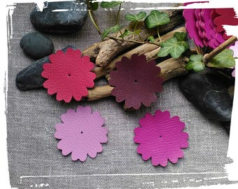 1 large leather flower of 6.5 cm, pink, Fuchsia, Burgundy, raspberry, supplies for creations: jewelry, hair accessories, Scrap bag.