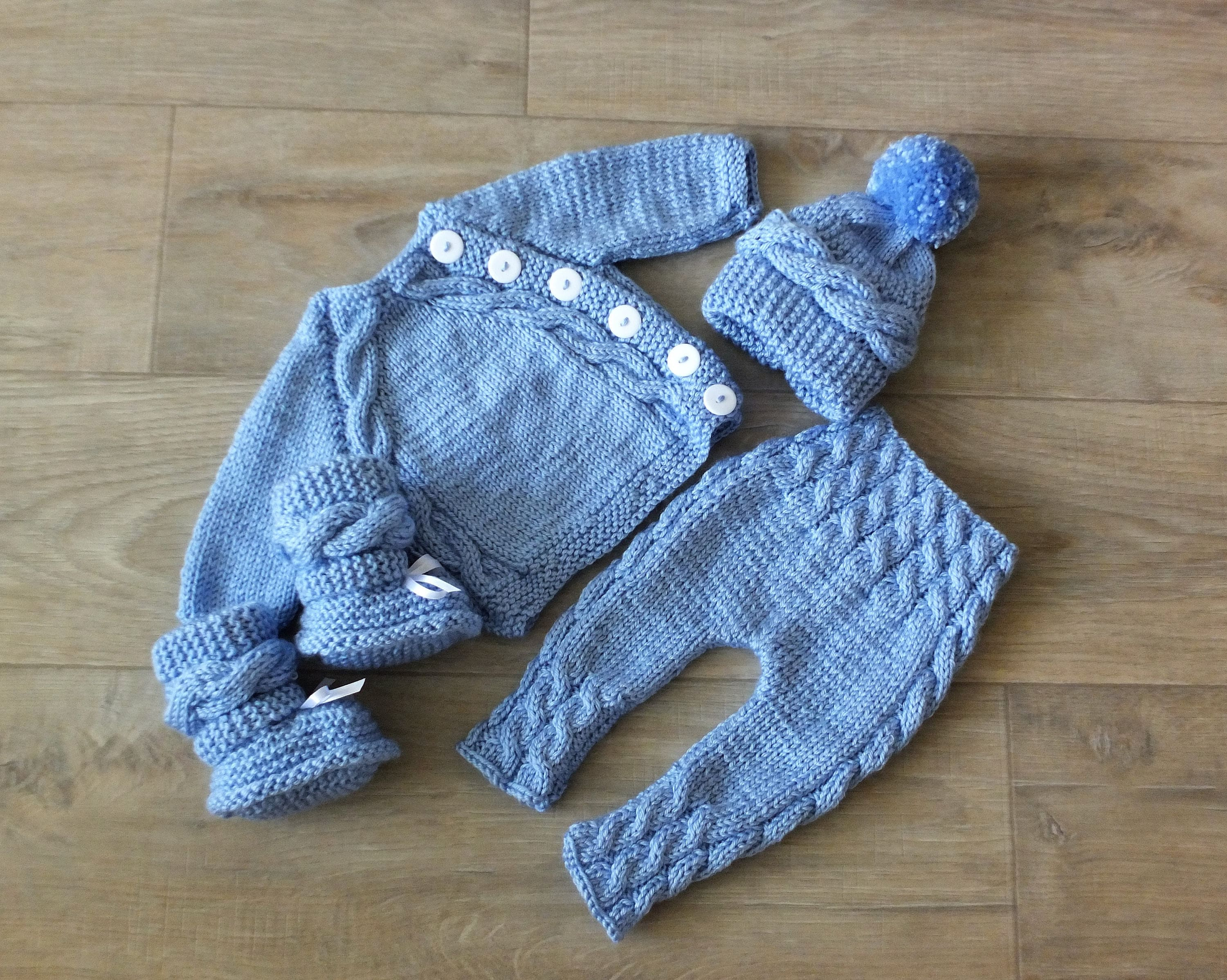 Knitted Baby boy ing home outfit Knit Baby Outfit Knitted