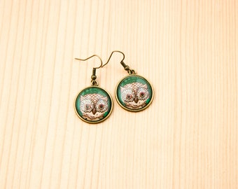 Owl bird round earrings glass picture art present gift idea christmas birthday