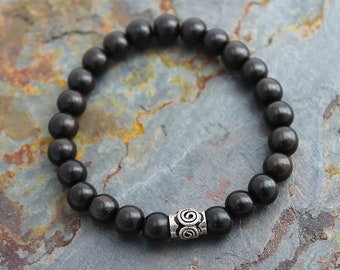 Womens Bracelet Tiger Ebony Wood with Bali Silver - Womens Gift for Sister Gift for Girlfriend Gift for Her Gift for Aunt Gift for Friend