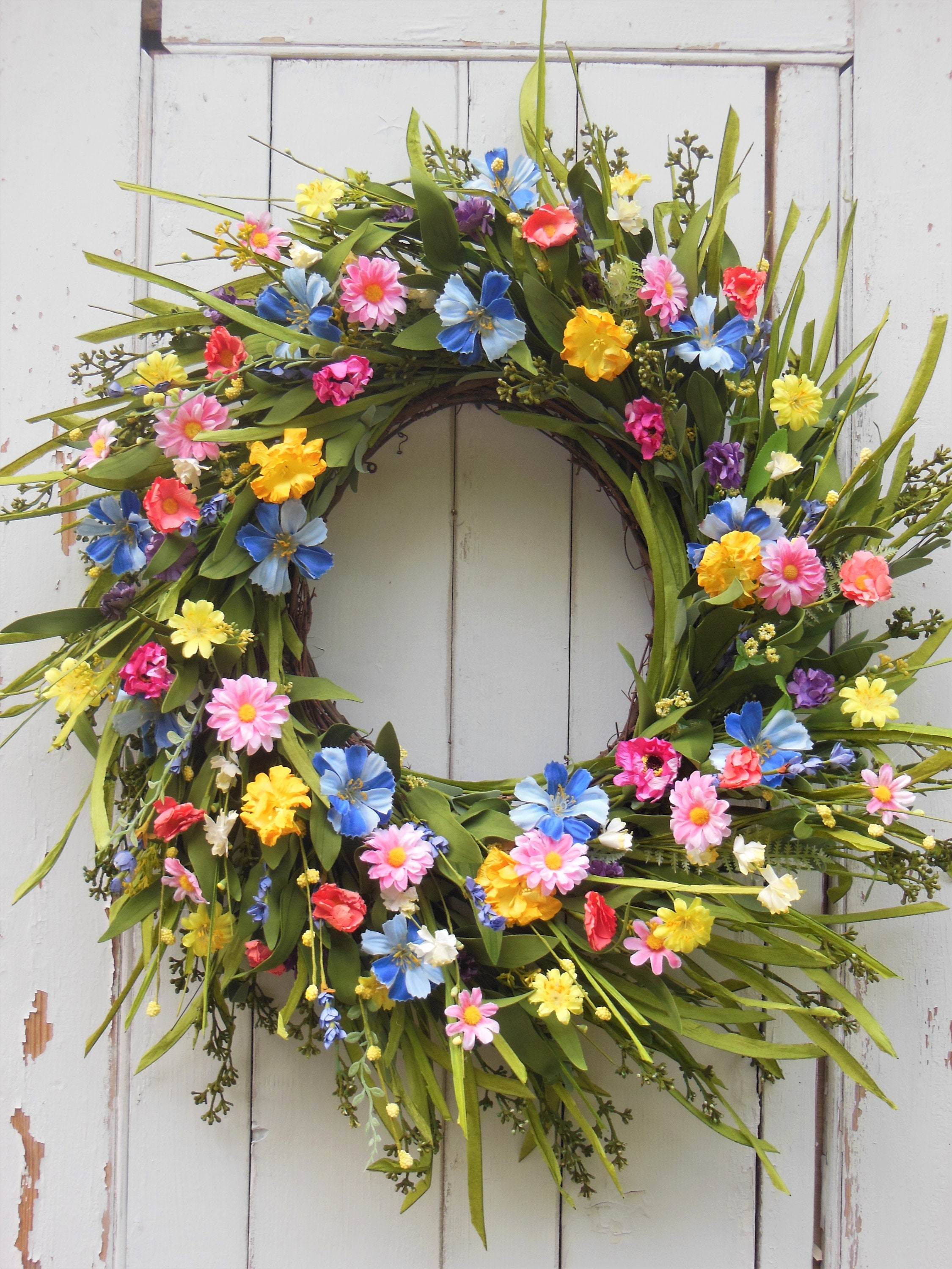 SUMMER WREATH, Spring Door Wreath, Spring Wreath, Front Door Wreath, Summer  Wreath, Summer Door Wreath, Summer Wreath, Wildflower Wreath,