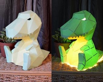 Papercraft Pattern: T-Rex Lamp | DIY Project | Table Lamp | Paper Lantern