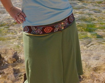 Reversible Wrap Skirt , A-line Skirt ,2 in 1 double layered