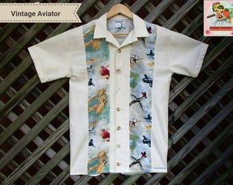 Mens RETRO Aviator Bowling Shirt