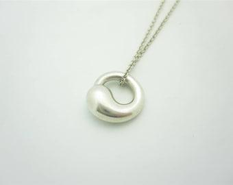 "Tiffany & Co. Elsa Peretti Small Sterling Silver Eternal Circle Pendant Necklace 16"""