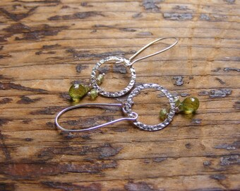 Peridot Earrings with Sterling Silver Hammered Hoops.