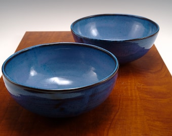 Blue Ceramic Bowls --Set of 2