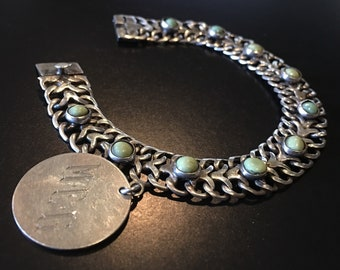 Signed Sterling & Green Turquoise Bracelet with charm M.E.G. - Mexico