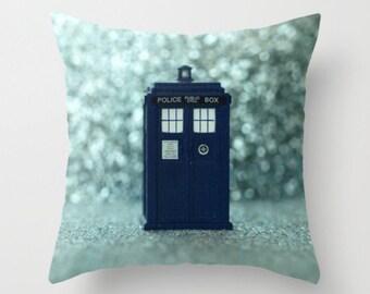 Tardis Pillow Cover Dr Who Tardis Character Pillow Blue Bokeh Police Box Pillow England Decor