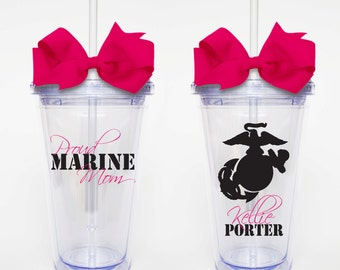Proud Marine Mom - Acrylic Tumbler Personalized Cup