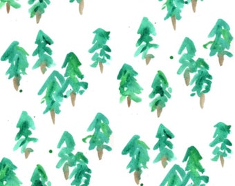 Pine Tree Fitted Crib Sheet or Changing Pad Cover - Minky Fitted Crib Sheet - Watercolor Crib Bedding - Toddler Bedding