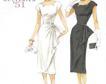 Retro 50s Womens Dress with Side Overlay Butterick Sewing Pattern B5880 Size 6 8 10 12 14 Bust 30 1/2 to 36 UnCut Wiggle Dress Pattern