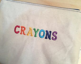 Embroidered Zipper Pouch-Crayons (EZip 28)