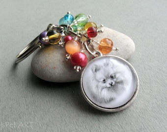 Pomeranian Beaded Key Ring, Pet Portait Keychain, Pet Gift, Pomeranian Keychain, Dog Owner Gift, Pet Memorial Gift, Dog Lover Gift