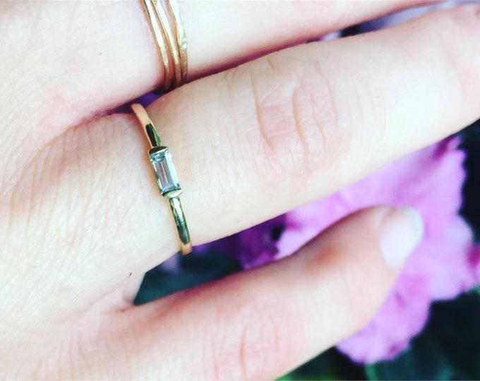 white sapphire baguette ring